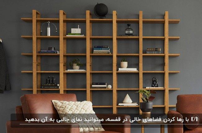 تصویر شلف های طبقه ای چوبی مقابل دیوار خاکستری و مبلمان چرم قهوه ای