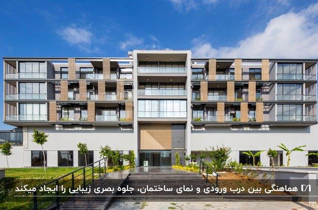 تصویر یک ساختمان چندطبقه با نمای ترکیبی چوب و رنگ سفید و خاکستری با درب ورودی متناسب با نما