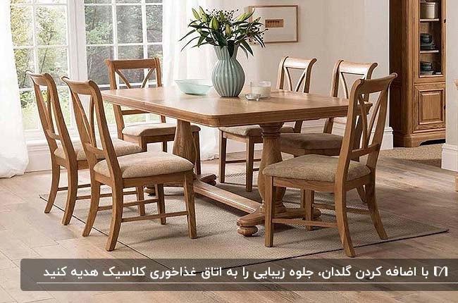 اتاق غذاخوری کلاسیک با میز وصندلی های چوبی کلاسیک و یک گلدان گل طبیعی روی میز