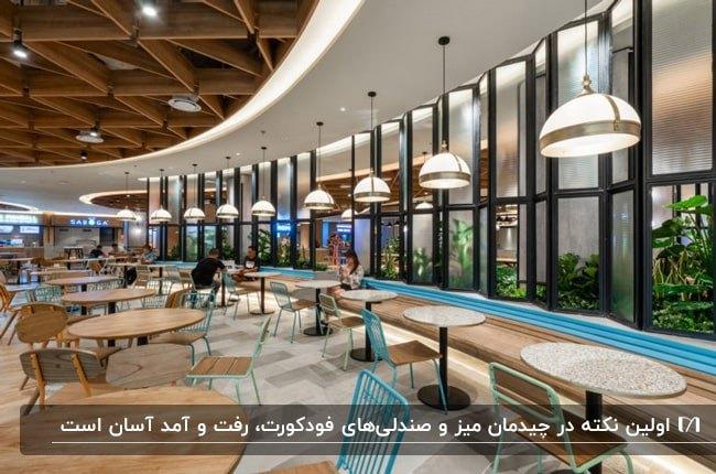 فودکورتی با میزهای چوبی و صندلی های فلزی آبی با لوستر آویز سفید و دیوارهای شیشه ای