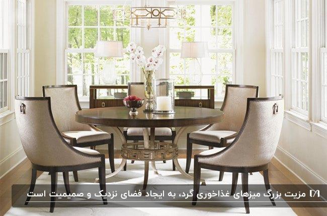 یک میز غذاخوری رسمی و مدرن گرد چوبی و صندلی های چوبی با پارچه کرم رنگ