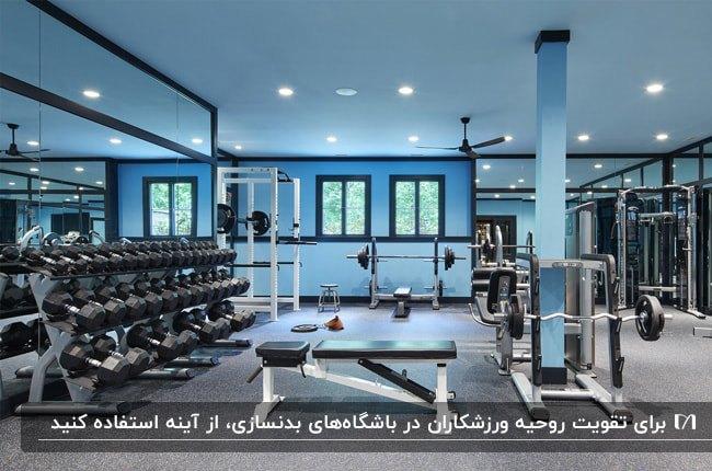 دکوراسیون داخلی یک باشگاه بدنسازی با تم رنگی آبی آسمانی و مشکی و آینه های بزرگ