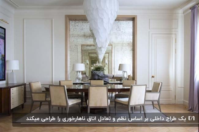اتاق غذاخوری با میزناهارخوری گرد و صندلی های کرم و خاکستری و لوستر آویز سفید