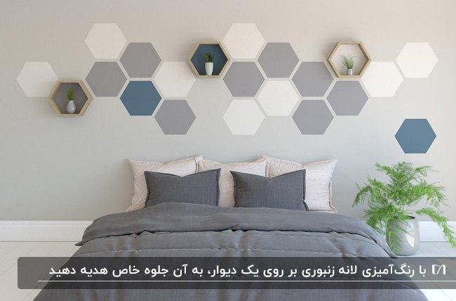 اتاق خوابی با زمینه دیوار طوسی و طرح های لانه زنبوری طوسی و سفید و آبی بالای تخت خواب