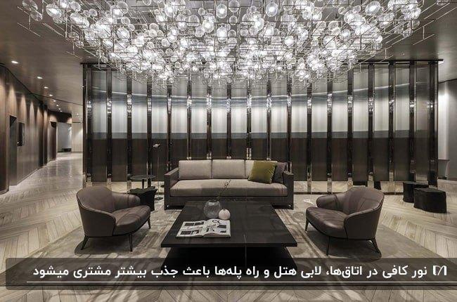 طراحی دکوراسیون داخلی هتلی با ترکیب رنگ های طوسی و خاکستری و مشکی و سقف نورپردازی شده