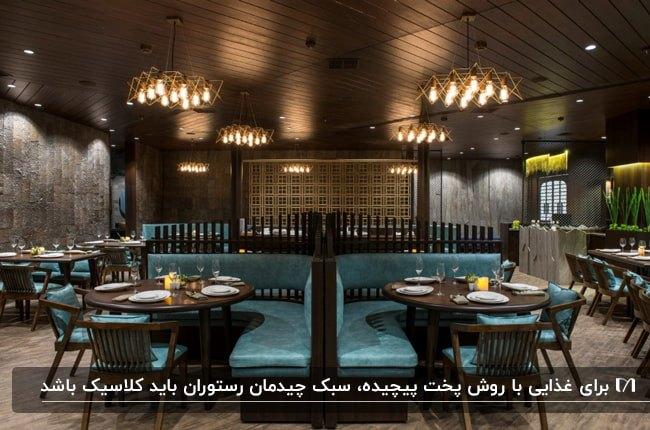 طراحی داخلی رستورانی مدرن با دیوارها و سقف قهوه ای و صندلی های آبی با فریم چوبی قهوه ای تیره