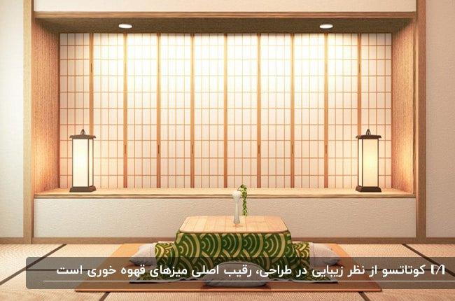میز ناهارخوری ژاپنی کوتاتسو با پتوی طرحدار سبز و دو روشنایی فانوسی