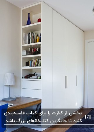 تصویر کمددیواری سفید رنگی با چند قفسه برای کتاب در انتهای کمد