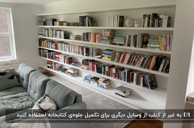 تصویر شلف های سفید کتابخانه روی دیوار و مبل طوسی مقابل دیوار