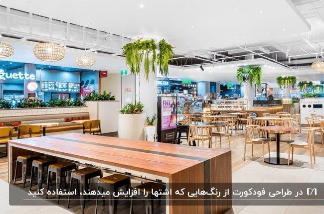 فودکورتی با میز و صندلی های چوبی، گیاهان سبز ، دیوارهای آبی رنگ