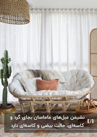 تصویر یک مبل پاپاسان چوبی با تشکچه سفید کنار کاکتوسی بلند