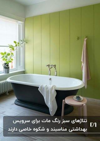 سرویس بهداشتی با پنل های عمودی سبز مات برای دیوار، وان سبز و سفید و پنجره بلندی مقابل وان