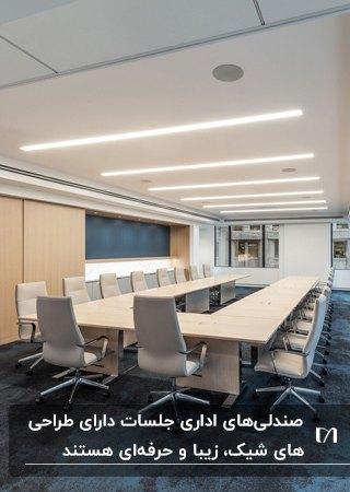تصویر اتاق جلسه اداره ای با میز چوبی و صندلی های اداری جلسه کرم رنگ