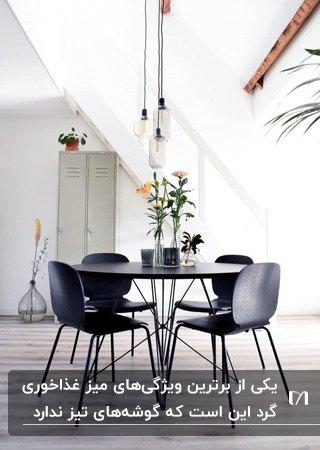 میز غذاخوری مدرن گرد به رنگ مشکی به همراه چهار صندلی