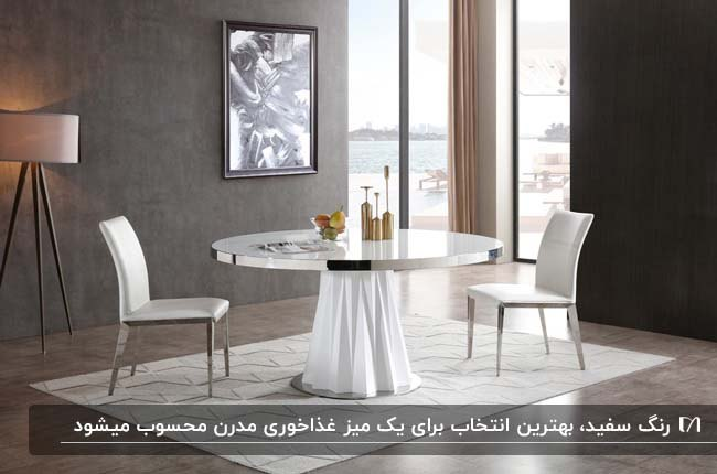 میز غذاخوری گرد دو نفره سفید رنگ مقابل دیوار خاکستری