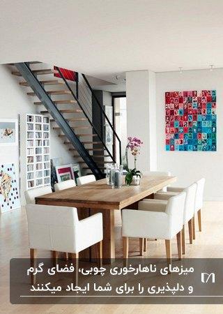 میز و صندلی های ناهارخوری مدرن چوبی با پارچه کرم مقابل تابلوی نقاشی صورتی و آبی