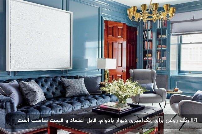 نشیمنی با مبل چستر آبی، دیوارهایی با رنگ روغن براق آبی و درب چوبی قهوه ای