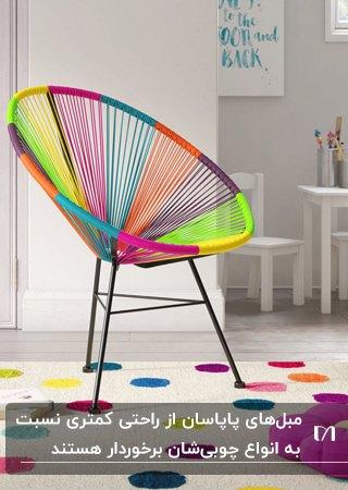 پاپاسانی با فریم فلزی مشکی رنگ و نخ های رنگی روی فرش خالدار رنگی