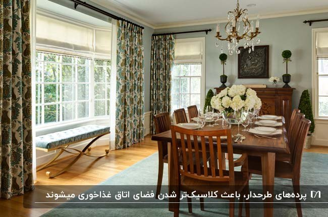 اتاق غذاخوری کلاسیک با میز وصندلی های غذاخوری چوبی، پنجره های بلند و پرده های طرحدار کلاسیک