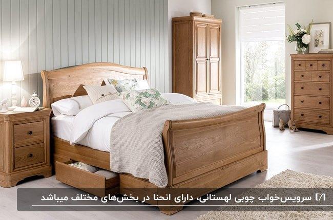 تصویر اتاق خوابی با سرویس خواب چوبی لهستانی و روتختی سفید رنگ