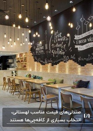 تصویر کافه ای با دیوارهای مشکی و میز وصندلی های لهستانی چوبی