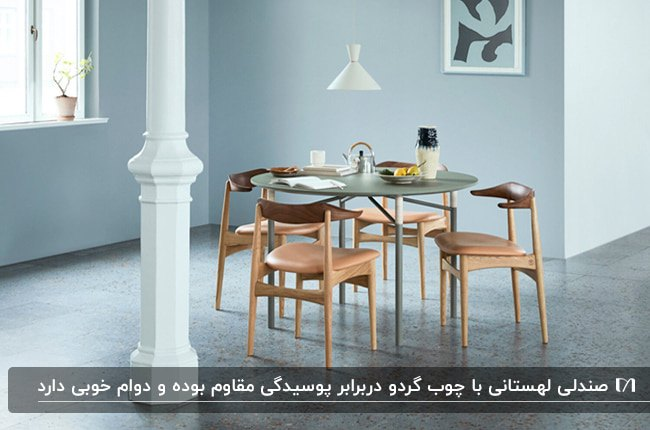 اتاق غذاخوری با دیوارهای آبی آسمانی و میز وصندلی های غذاخوری لهستانی