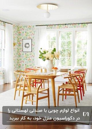 تصویر اتاق غذاخوری با کاغذدیواری طرح دار و میز وصندلی های لهستانی رنگی