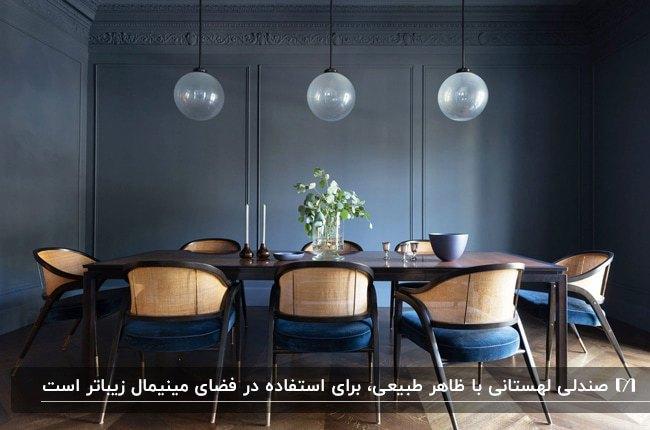 تصویر اتاق غذاخوری با دیوارهای سرمه ای و میز وصندلی های لهستانی با ترکیب چوب و رنگ سرمه ای