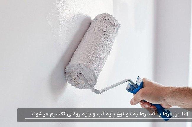 تصویر دیواری در حال رنگ آمیزی رنگ آستر سفید با غلتک