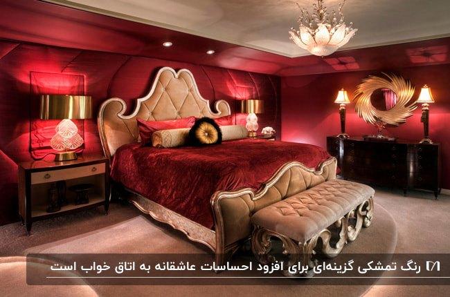اتاق خوابی به رنگ قرمز تمشکی با روتختی و دیوارهای تمشکی