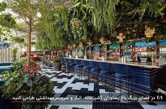 تصویر باغ رستوران مجللی با کانتر و چهارپایه های آبی رنگ و قفسه های چوبی روی دیوار