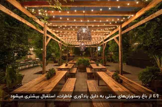 باغ رستورانی با میزهای مستطیلی و نیمکت های چوبی و ریسه های نوری روی تیرهای سقف