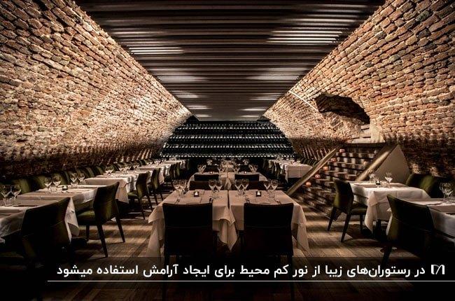دکوراسیون داخلی رستورانی با دیوارهای آجری و سقف مشکی با نورپردازی به سمت بالا