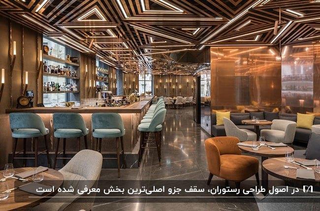 رستورانی با فضای قهوه ای و صندلی های آجری و آبی با طراحی مثلثی سقف