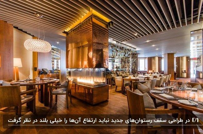 رستورانی با میز وصندلی های کرم رنگ، سقف چوبی و شومینه ایستاده مسی