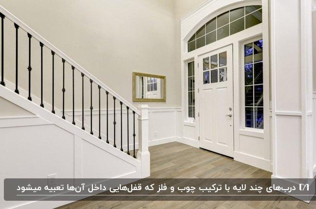 تصویر درب ورودی یک واحد خانه به رنگ سفید با ترکیبی از چوب و شیشه