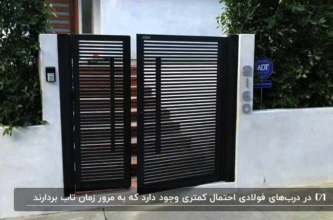 نمای خارجی ویلا با دیوارهای سیمانی سفید رنگ و درب ورودی فولادی مشکی دو لنگه