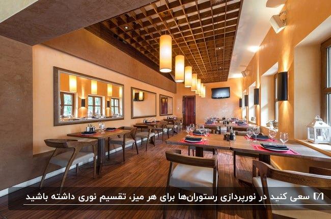 رستورانی مدرن با طراحی سقف مشبک چوبی، میزو صندلی های چوبی با چراغ های آویز و دیوارکوب سفید