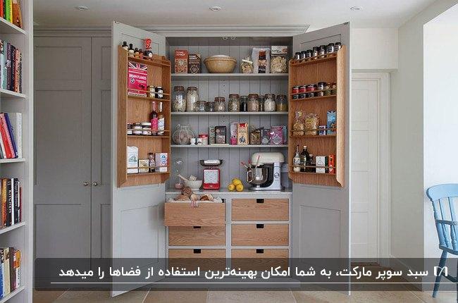 تصویر اکسسوری های سوپرمارکت آشپزخانه ای با کابینت های چوبی و طوسی