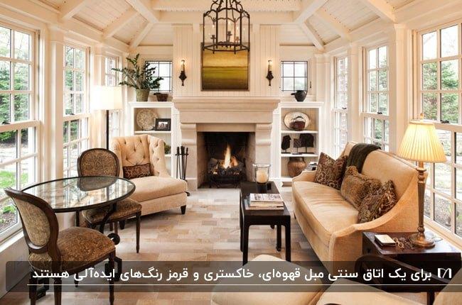 تصویر یک اتاق آفتابگیر سنتی با شومینه، قفسه های دکوری دیواری و مبل و میز کرم و قهوه ای