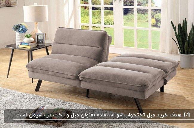 دو کاناپه تک نفره تخت خواب شوی مخمل طوسی سیر با پایه فلزی مشکی