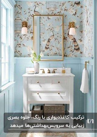 سرویس بهداشتی با دیوارهای تانیمه آبی آسمانی و نیمه دیگر کاغذدیواری طرحدار با زمینه آبی