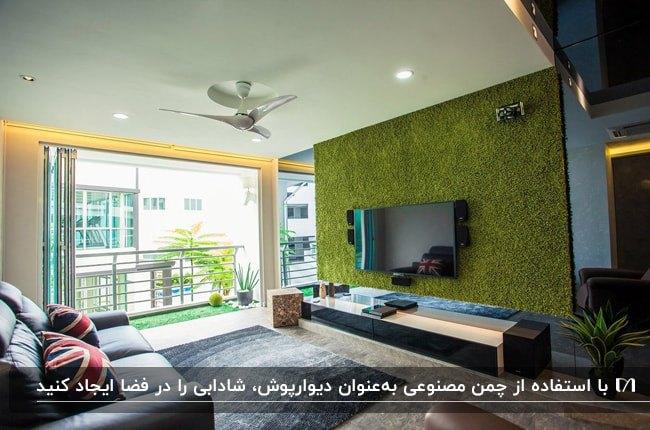 نشیمنی با یک دیوار شیشه ای، کاناپه و دیوار پشت تلویزیون با دیوارپوش چمن مصنوعی
