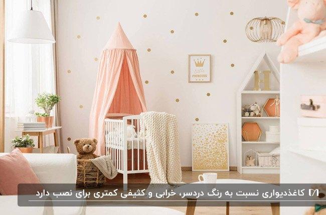 اتاق خواب دخترانه با کاغذدیواری سفید و دایره های طلایی و تخت صورتی