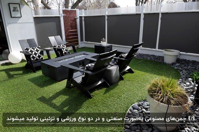 تصویر حیاطی با صندلی های مشکی، کوسن های سفید و مشکی، گودال آتش و کفپوش چمن مصنوعی