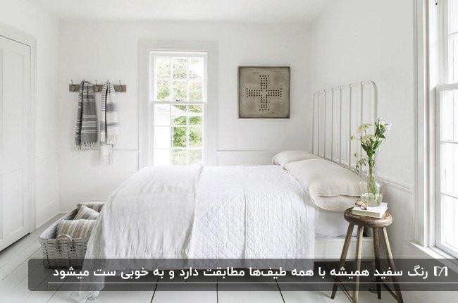 اتاق خوابی به رنگ سفید با دیوار، در و پنجره، تخت و روتختی سفید
