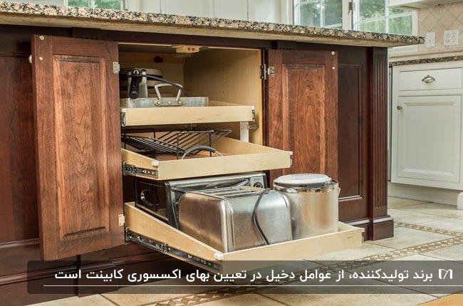 تصویر کابینت های کشویی آشپزخانه ای که ظروف درون آن ها قرار دارد