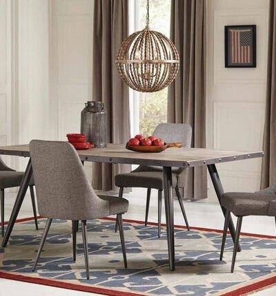 اتاق غذاخوری با پرده های قهوه ای، میزغذاخوری مدرن با صندلی های ست پرده