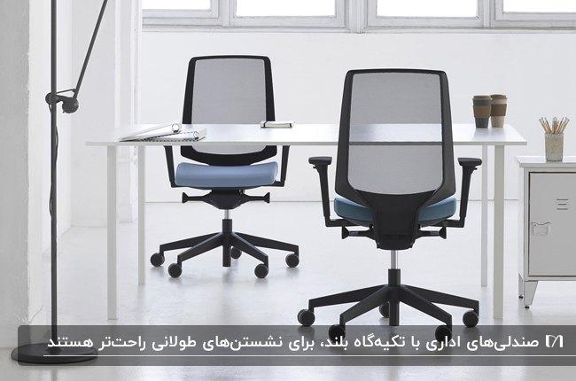 تصویر دو صندلی چرخدار اداری مشکی رنگ با نشیمنگاه آبی کنار میز سفید رنگ