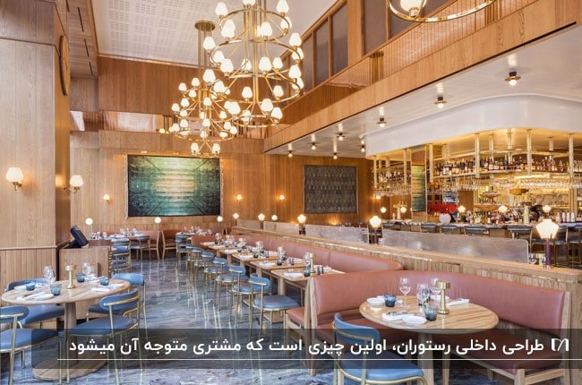 رستورانی با دیوارپوش و سقف چوبی با میزو صندلی و نیمکت های آبی و صورتی